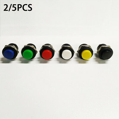 5 pcs Momentary On/Off Push Buttons Horn Switch for Car Auto Mini Round Red