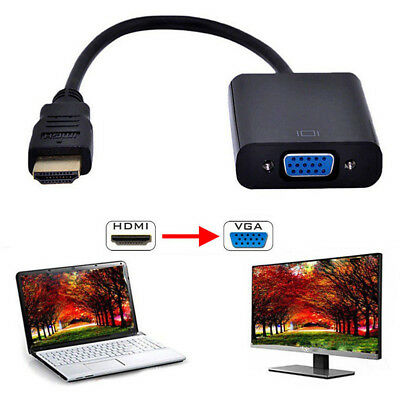 US 1080P HDMI Male to VGA Female Video Cable Cord Converter Adapter For PC HDTV