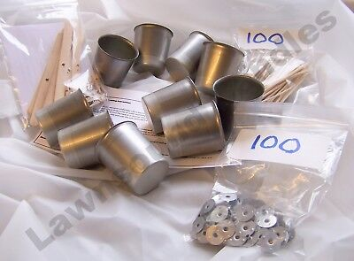 Votive candle making starter kit with 10 moulds, 100 wicks, 100 sustainers etc..