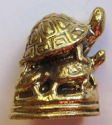 Figurine statuette famille tortues décoration collection bronze