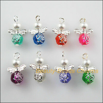 8Pcs Silver Plated Wings Mixed Dancing Angel Charms Pendants 14x22mm