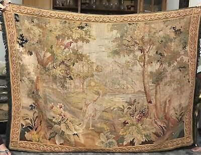 19Th Century Antique  Aubusson French Tapestry Garden Scene