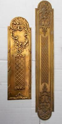 2 Stylish Vintage French Brass Door Finger Push Plates