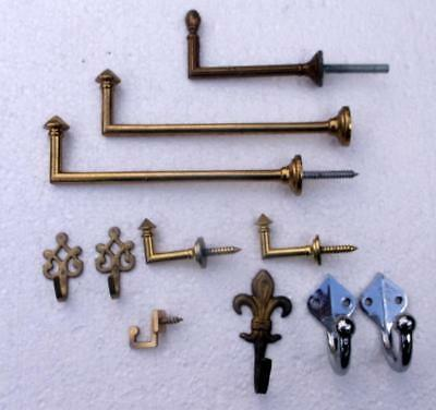 11 Various Vintage French Brass &  Metal Wall Hooks