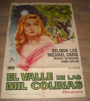 1959 EL VALLE de LAS MIL COLINAS SPANISH 1 SHEET MOVIE POSTER BELINDA LEE GGA