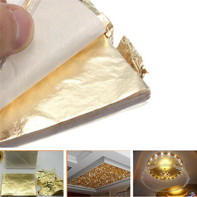 100sheets Imitation Gold Silver Copper Leaf Foil Paper Gilding Art Craft 16x16cm
