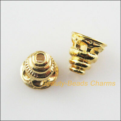 25Pcs Gold Plated Cone Flower End Bead Caps Connectors 7.5mm