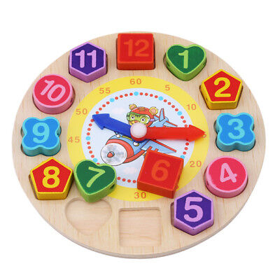 3D Wood Digital Geometry Clock Wooden Blocks Toys for Children Educational Toy Z