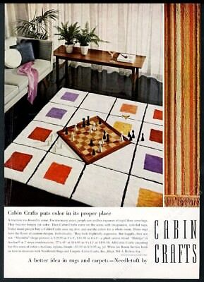 1958 Cabin Crafts rug modern chess pieces board photo vintage print ad