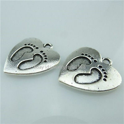 14188*6PCS Baby Footprint Heart Pendant Antique Silver Plated Vintage Alloy