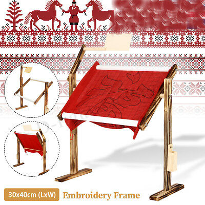 Wooden Embroidery Frame Floor Stand Tabletop Hoop Cross Stitch Needle Craft