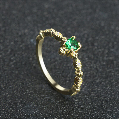 Luxury Gold Tone Band Green Stone Crystal Rings Jewelry For Women Ladies S