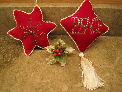 Frontgate Set of 2 Christmas Ornaments Red Velvet Peace & Snowflake Beautiful!