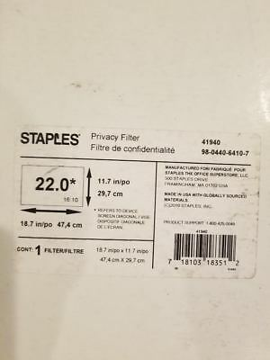 "Staples Privacy Filter for 22"" Monitor (PF190C4F)"