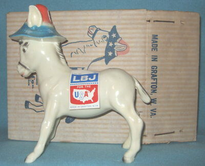 MIB 1964 Lyndon B. Johnson LBJ DEMMY DONKEY DEMOCRAT BANK Mde in Grafton WV Marx