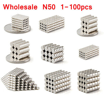 N50 1-100Pcs Neodymium Round Disc Magnet Lot Super Strong Rare Earth Magnets