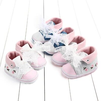 Newborn Baby Girl Toddler Flower Dress Canvas First Walkers Sole Shoes Boots