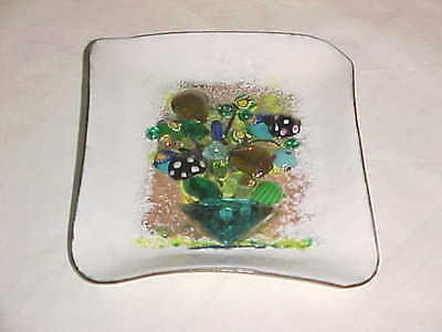 Signed Ruth Buol Modern Glass Enamel Copper Art Plate Tray Painting Midcentury !