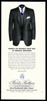 1941 Brooks Brothers man's classic pinstripe suit color photo vintage print ad