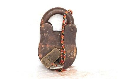 1900s Old Vintage Antique Rare Iron Brass Lock and Key Collectible S19