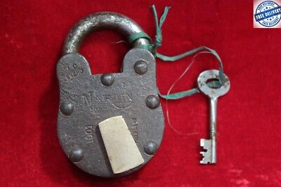 1900s Old Vintage Antique Rare Solid Iron Brass Lock and Key Collectible BC82