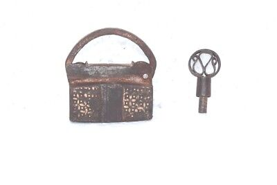 1900s Old Vintage Antique Rare Iron Brass Lock and Key Collectible PB89