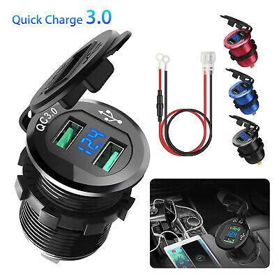 12V Dual USB Charger Socket with Voltmeter & Wire Waterproof for Car Motorcycle