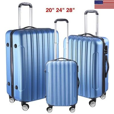 "3PCS Luggage Set Travel Bag Trolley ABS Spinner Hard Shell Suitcase 20"" 24"" 28"""