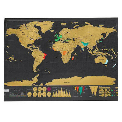 Deluxe Scratchable World Travel Map Scratch Off Poster for Geography Teach W1A7N