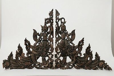 Hand Made & Carved Thai Hardwood Wood Reticulated Panel with Dancers & Foliage