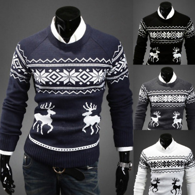 Xmas Mens Novelty Christmas Sweater Retro Vintage Jumper Snowflake Knitted Tops
