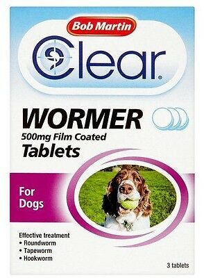 Bob Martin Clear Wormer All in One Medium & Large Dog 3 Tablets 500mg FREEPOST