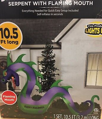 FLAMING MOUTH MONSTER DRAGON SEA SERPENT Halloween Airblown Inflatable Yard Prop