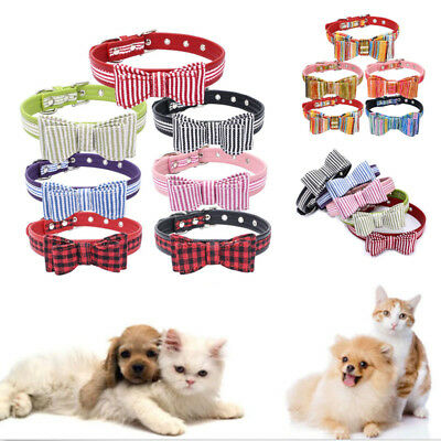 Adjustable Small Pet Dog PU Leather Collar Bowknot Puppy Cat Buckle Neck Strap