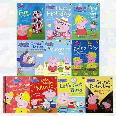 **NEW** Peppa Pig Sticker Activity Book Series Collection 10 Books Set #g6