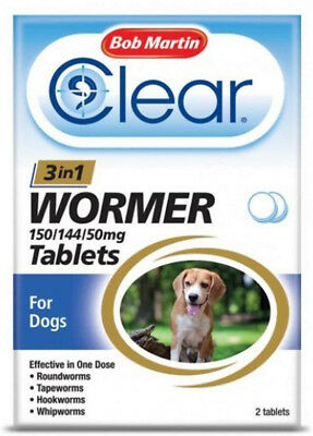 Bob Martin Clear 3-In-1 Wormer 2 Tablets for Dogs 3kg to 20kg Dewormer FREEPOST
