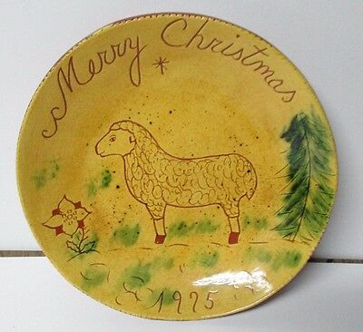 1975  EARLY - BREININGER REDWARE Decorated Plate - CHRISTMAS
