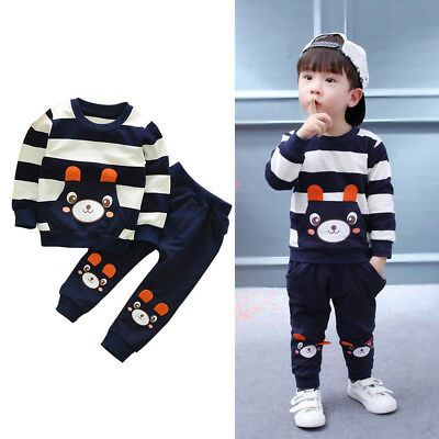 Kids Baby Girl Boy Blouse Tops Clothes Set Striped Bear Tops+Long Pants Outfits