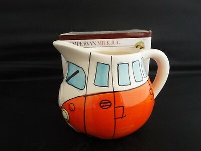 Novelty Ceramic Orange Camper Van Milk Jug