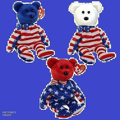 LIBERTY BEARS Set of all 3 - Red, White & Blue heads TY BEANIE BABIES