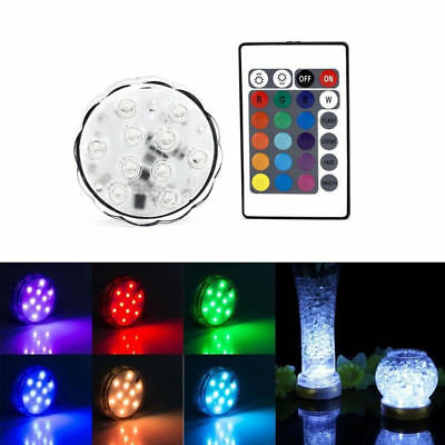 10 LED RGB Submersible Waterproof Wedding Party Vase Base Floral Light + Remote