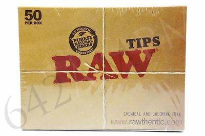 Full Box 50 Packs of AUTHENTIC RAW Rolling Paper Tips  (50 tips)