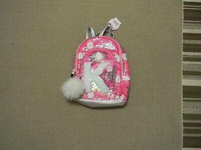 Nwt Justice Girls Initial K Pink Flip Sequin Mini Backpack