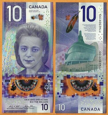 CANADA 2018 GEM UNC 10 Dollars Banknote Polymer Money Bill P- NEW Viola Desmond