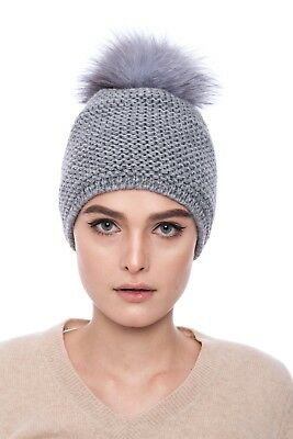74bb10bccce Knitted grey wool hat with blue silver natural fox fur pompom
