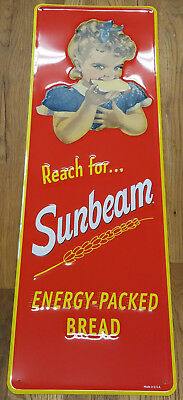 """Sunbeam Bread Bright Red Yellow Energy Packed 42"""" Highly Embossed Metal Adv Sign"""