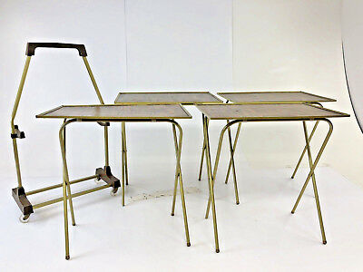 Vintage Tv Tray Table Set Faux Wood Mid Century Modern Brown