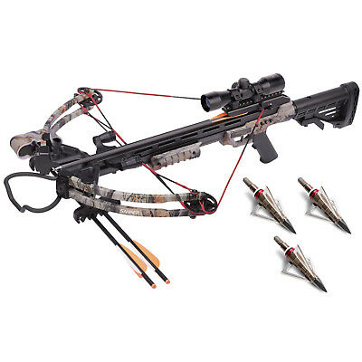 CenterPoint Sniper 370 Camo Crossbow Package with NAP Hunting Broadheads Kit