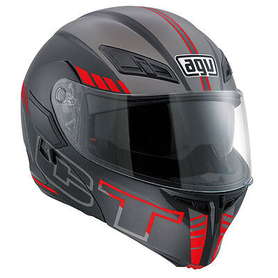 Casco Modulare Agv Compact St Seattle - Matt Black - Silver - Red Taglia Xl