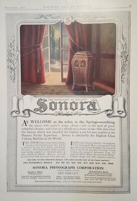 1916 Soronra Phonograph RARE Large COLOR AD Vintage Clear as a Bell Qualtiy